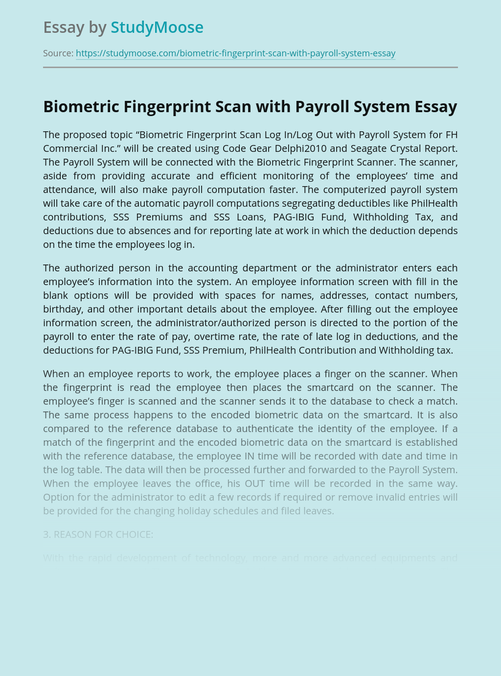 Biometric Fingerprint Scan with Payroll System