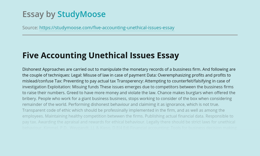 Five Accounting Unethical Issues