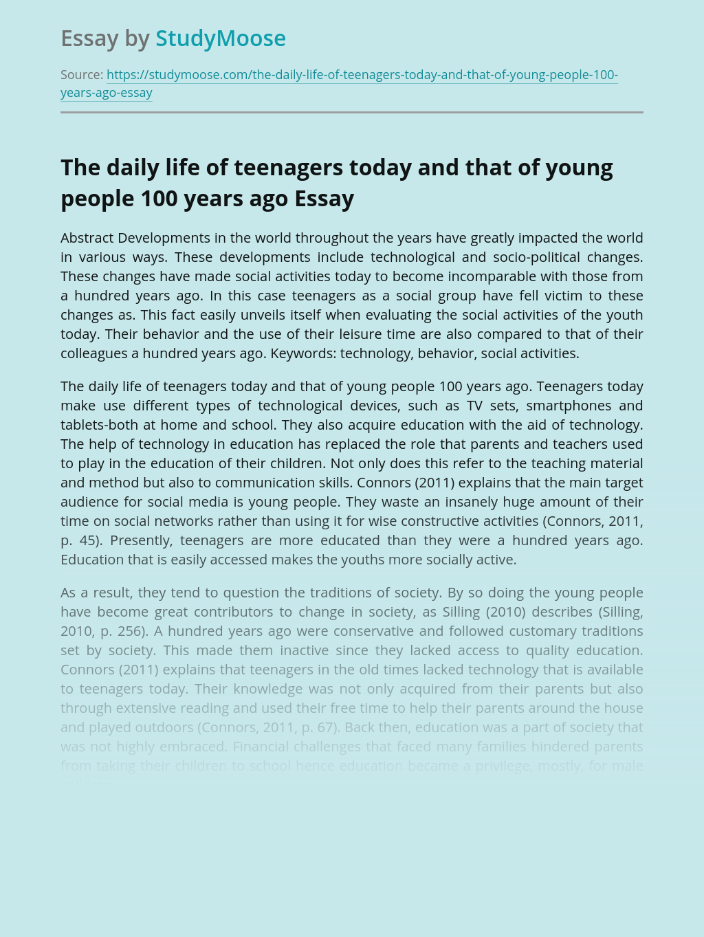 The daily life of teenagers today and that of young people 100 years ago
