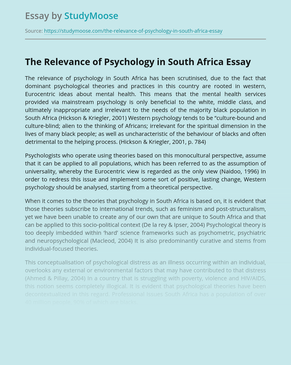 The Relevance of Psychology in South Africa