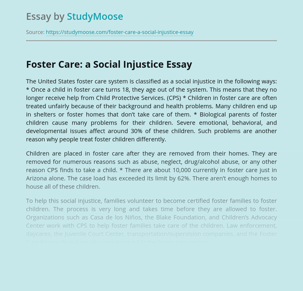 Foster Care: a Social Injustice