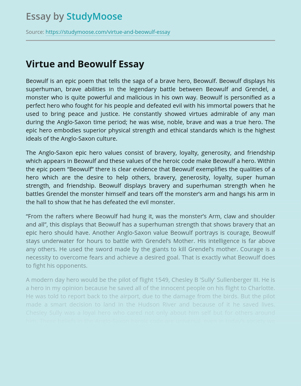 Virtue and Beowulf