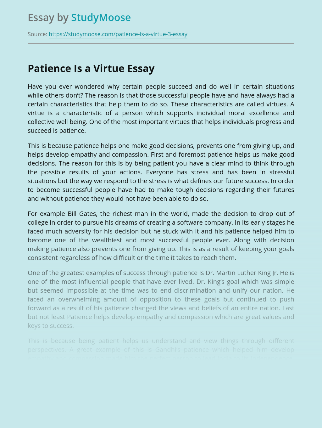 Essay on quality of patience write cv example