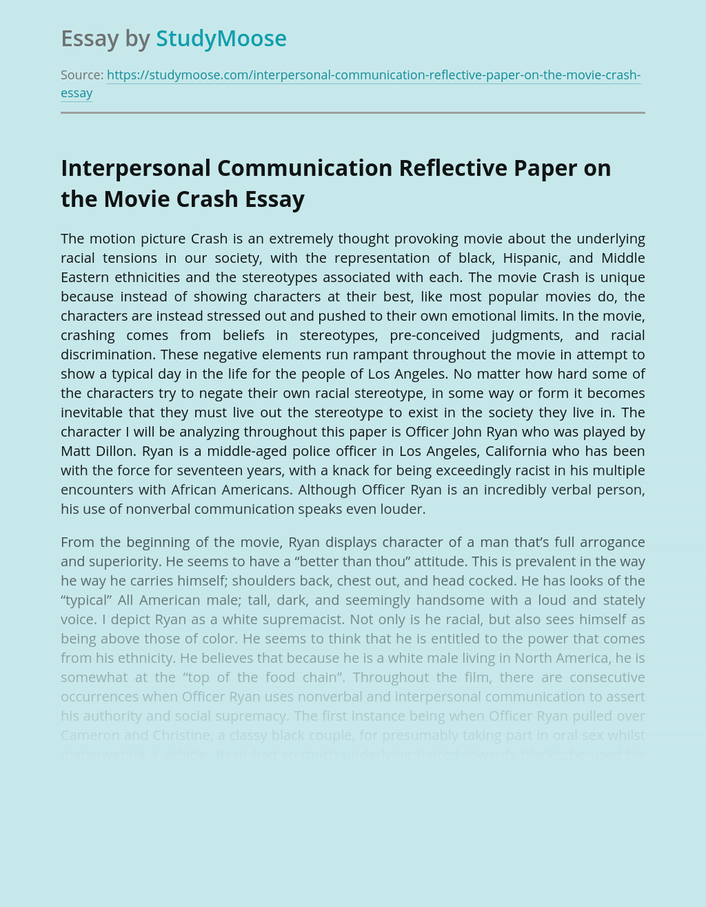 Interpersonal Communication Reflective Paper on the Movie Crash