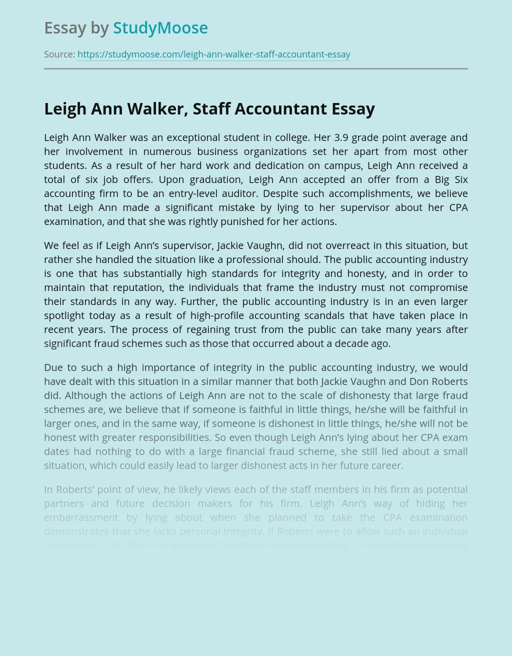 Lies of Leigh Ann Walker, Staff Accountant