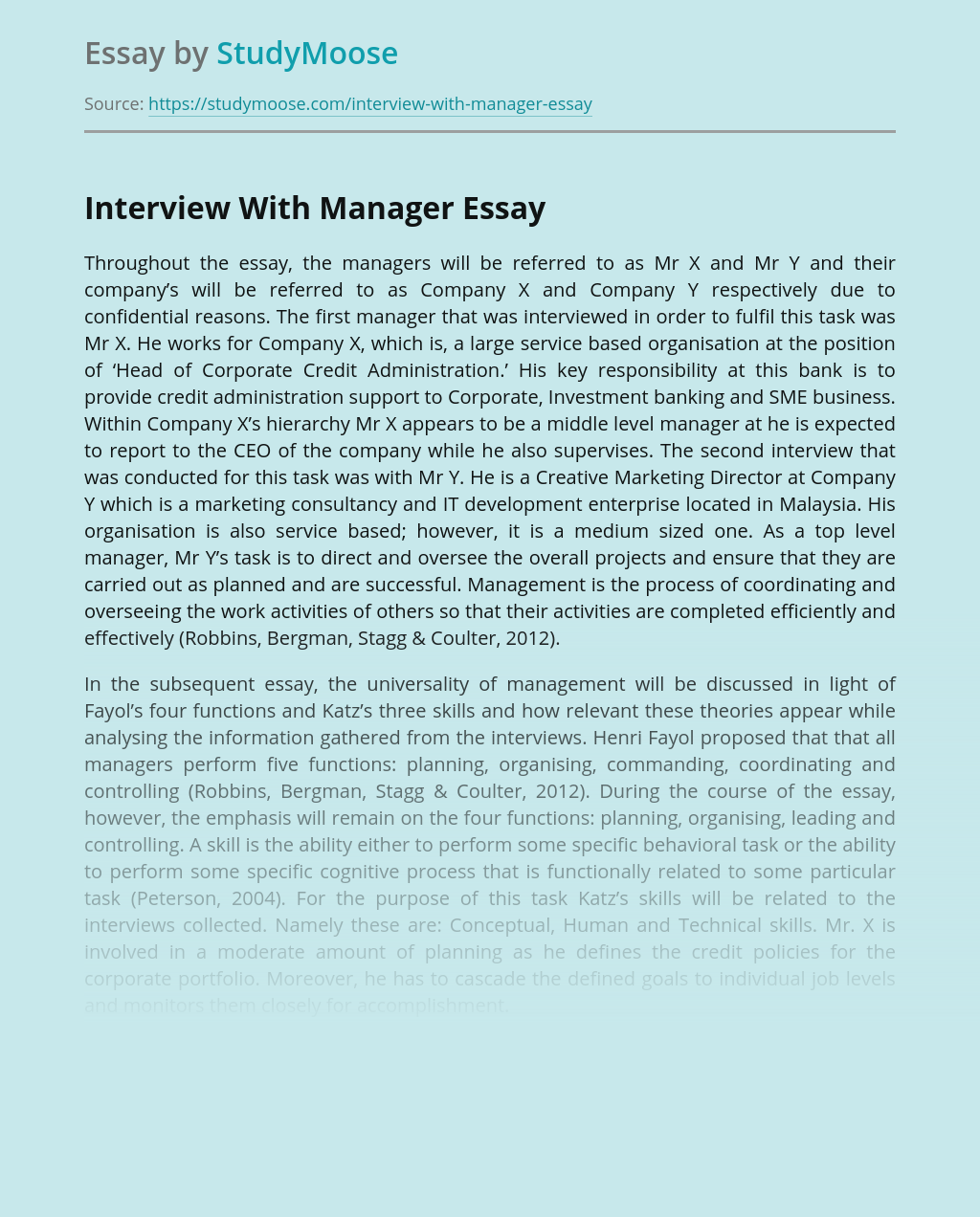 Interview With Manager
