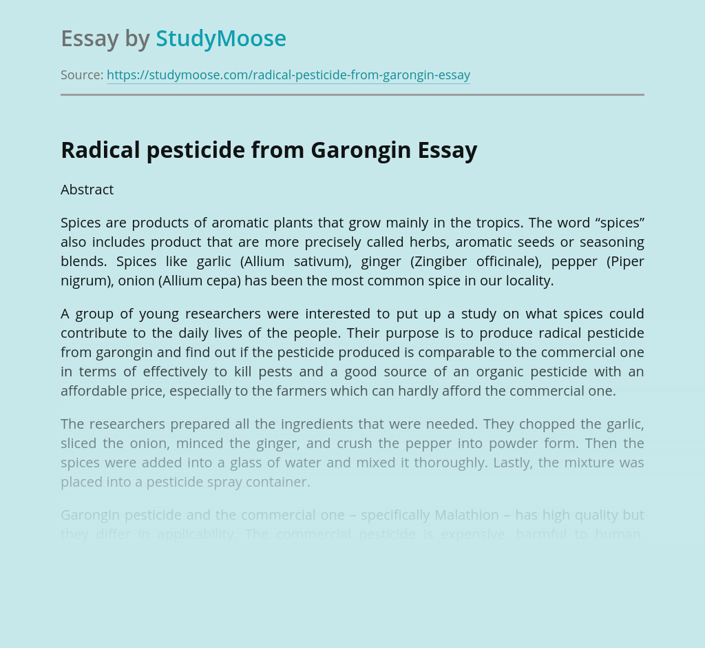 Radical Pesticide from Garongin and Environment Pollution