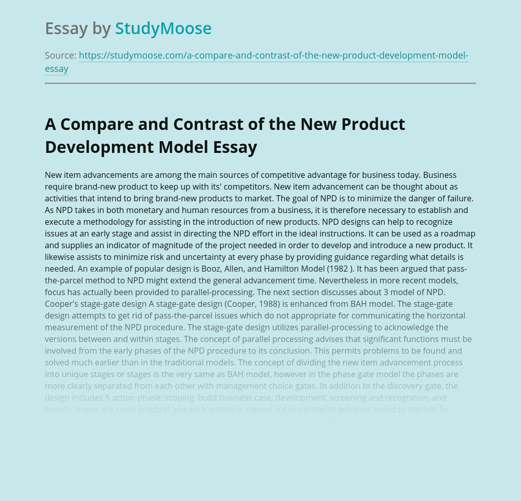 A Compare and Contrast of the New Product Development Model