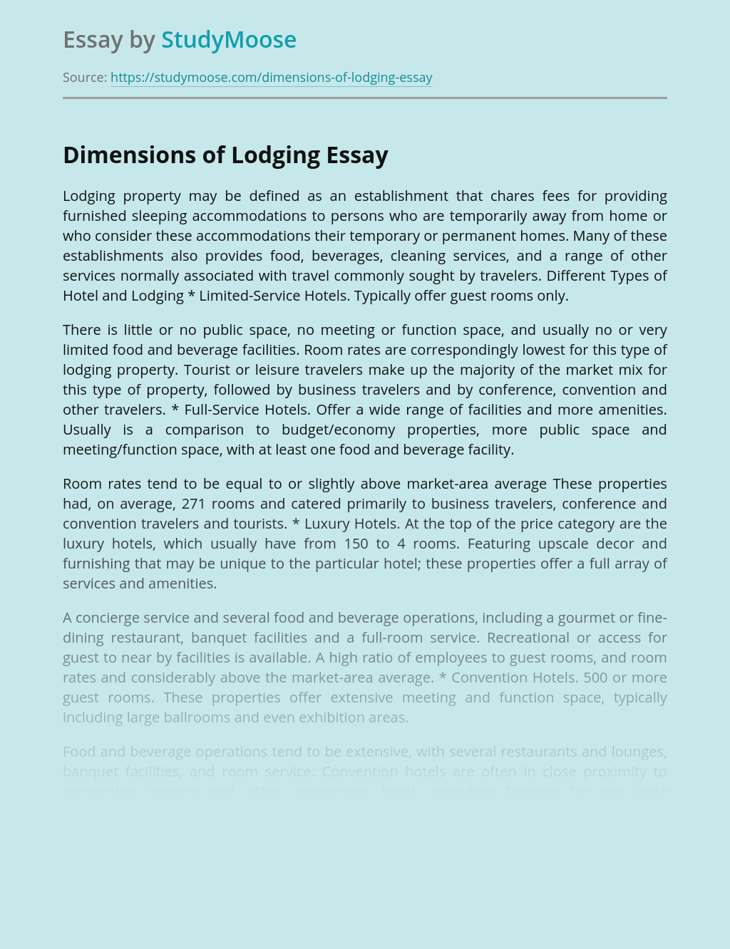 Dimensions of Lodging