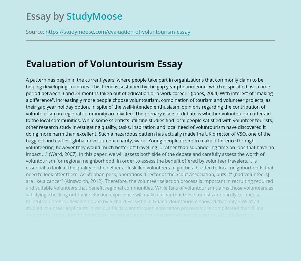 Evaluation of Voluntourism