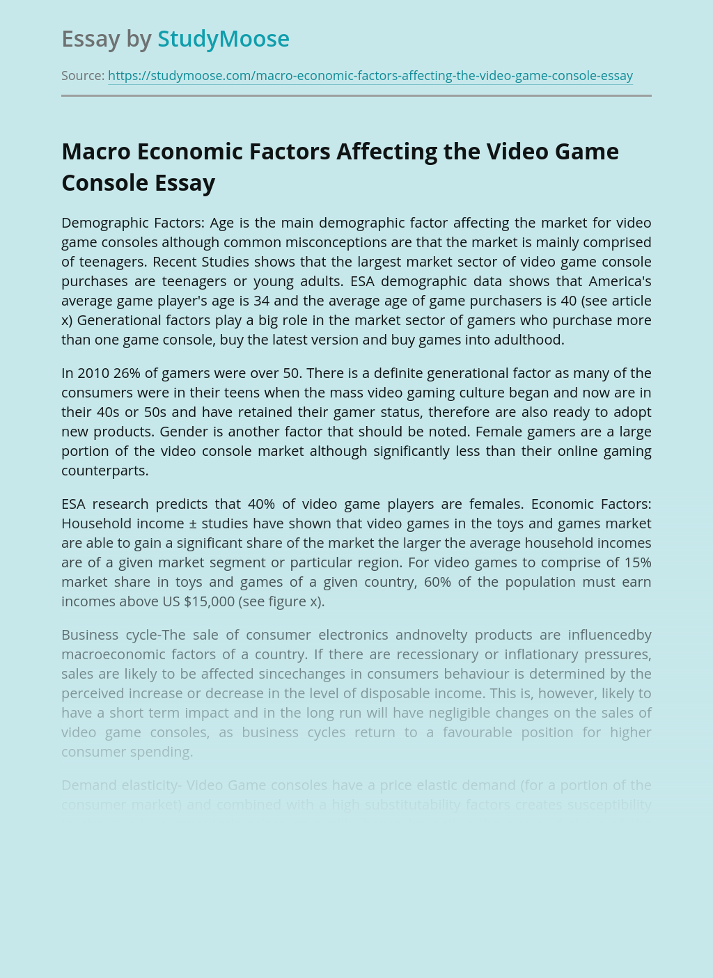 Macro Economic Factors Affecting the Video Game Console