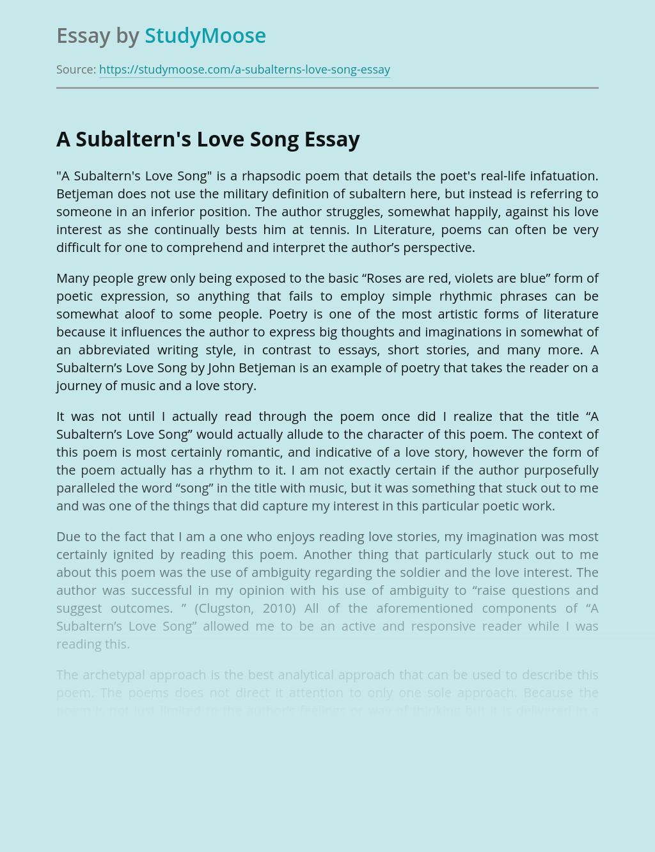 A Subaltern's Love Song by Sir John Betjeman