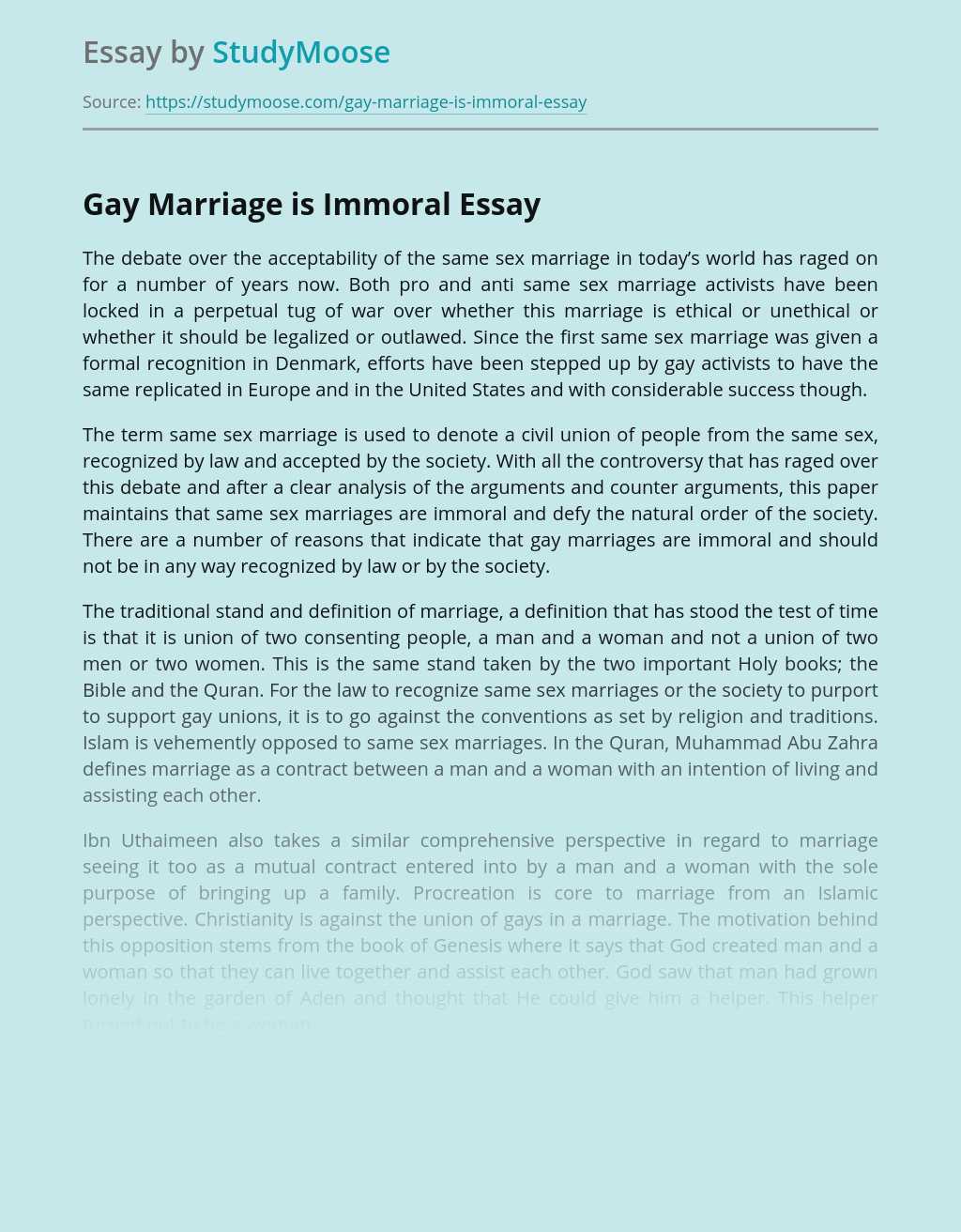 Gay Marriage is Immoral