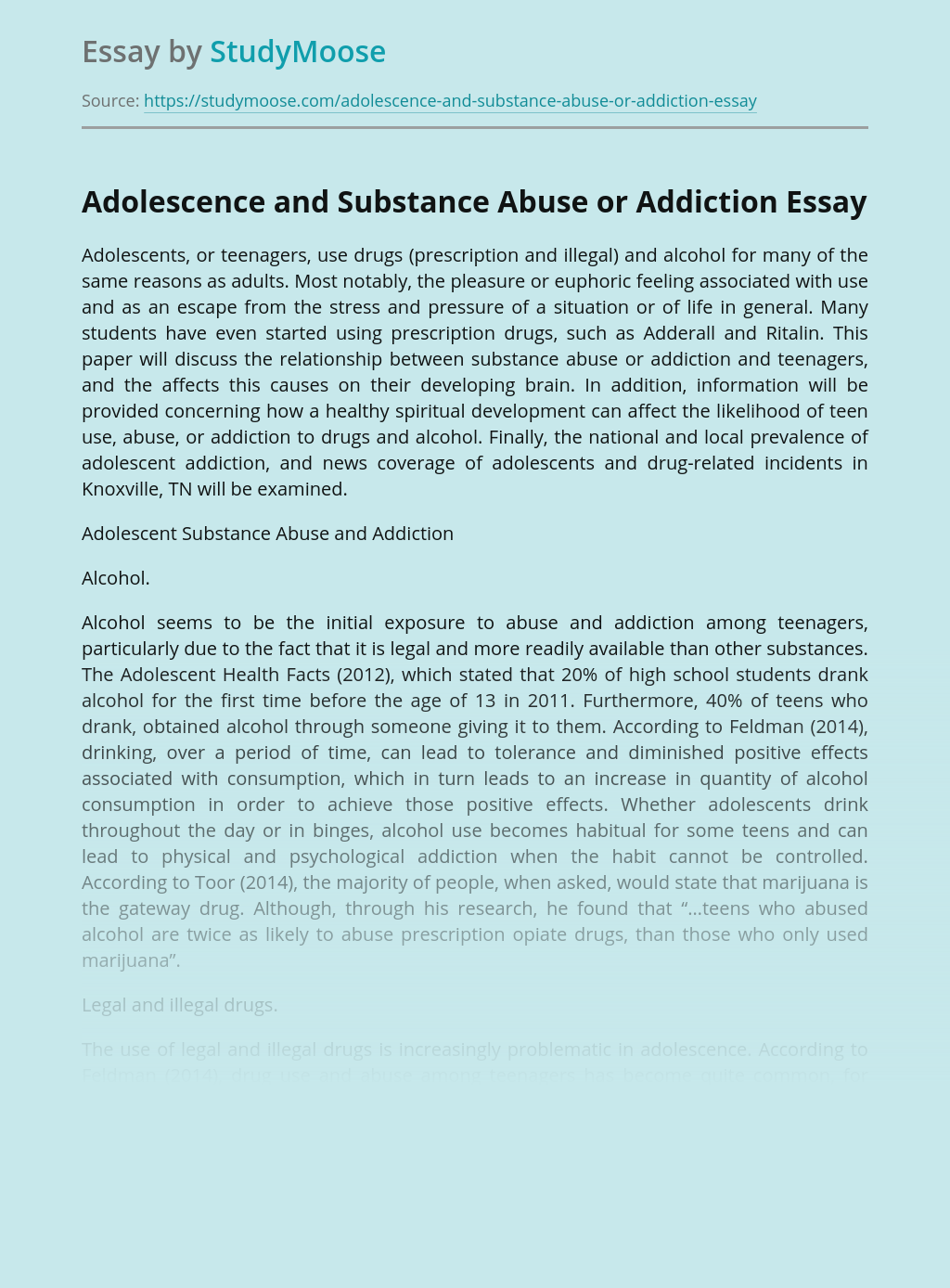 Adolescence and Substance Abuse or Addiction