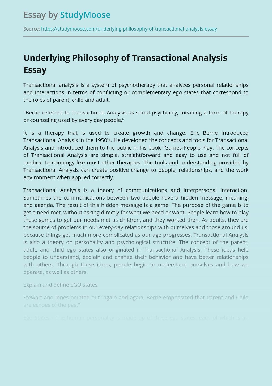 Underlying Philosophy of Transactional Analysis