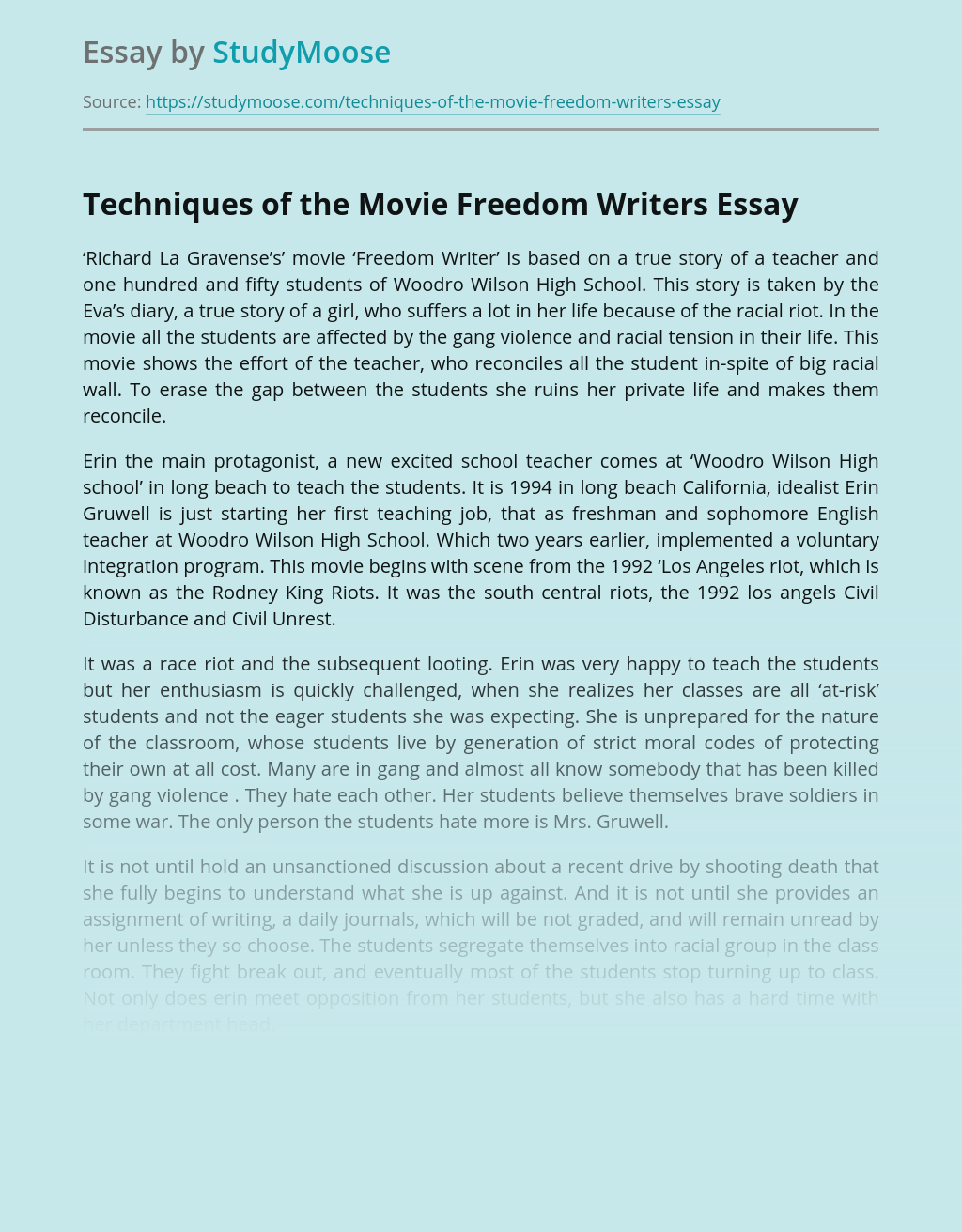 Freedom writers movie essay help