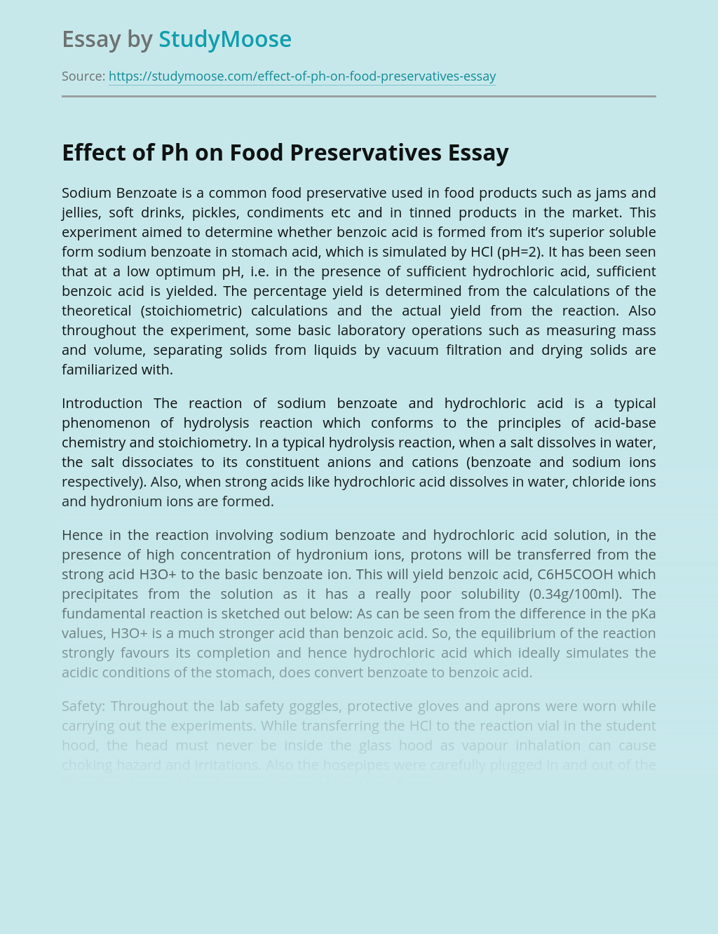Effect of Ph on Food Preservatives
