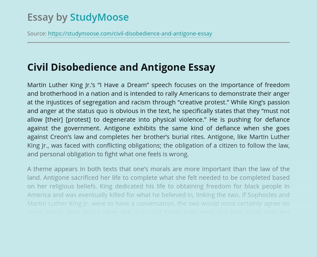 Civil Disobedience and Antigone