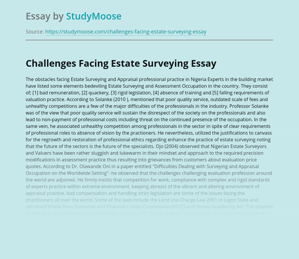 Challenges Facing Estate Surveying