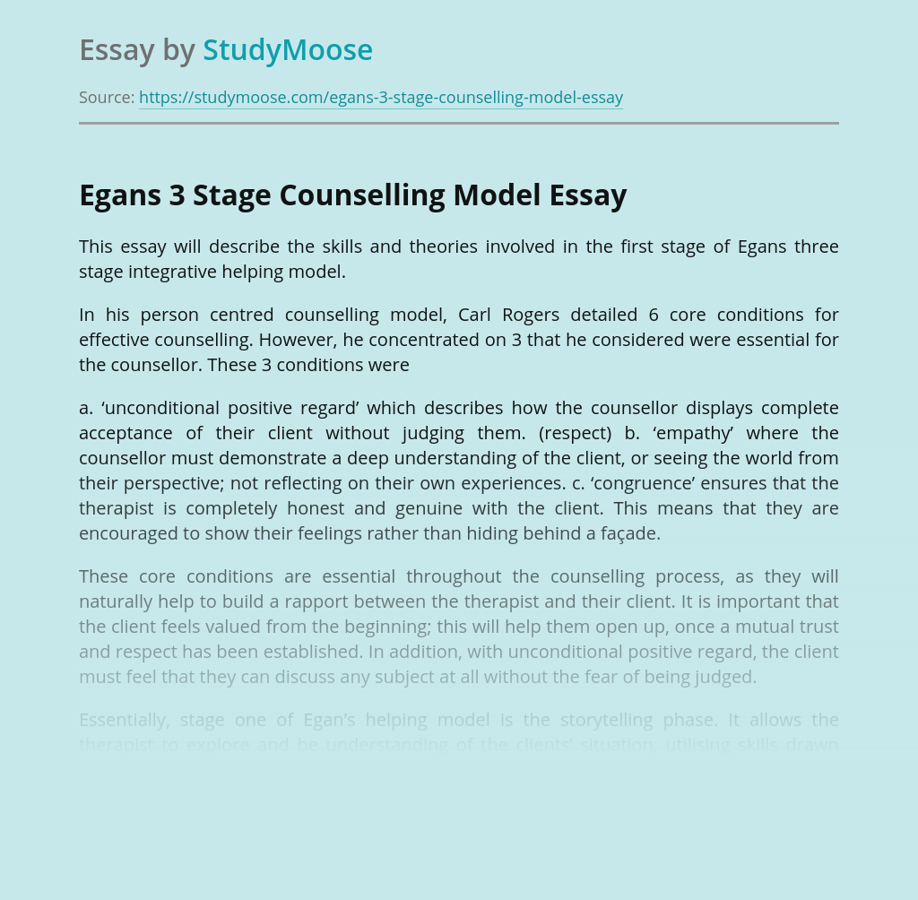 Egans Counselling Model for Helping Others
