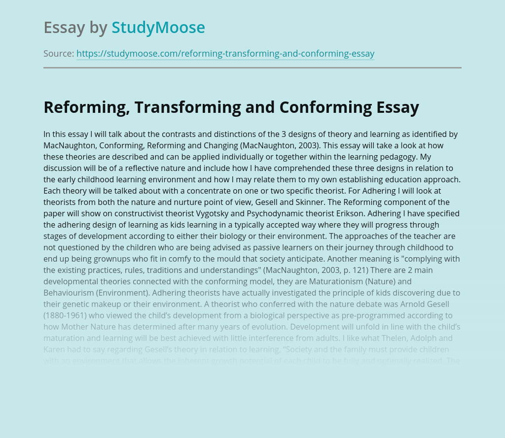 Reforming, Transforming and Conforming in Education