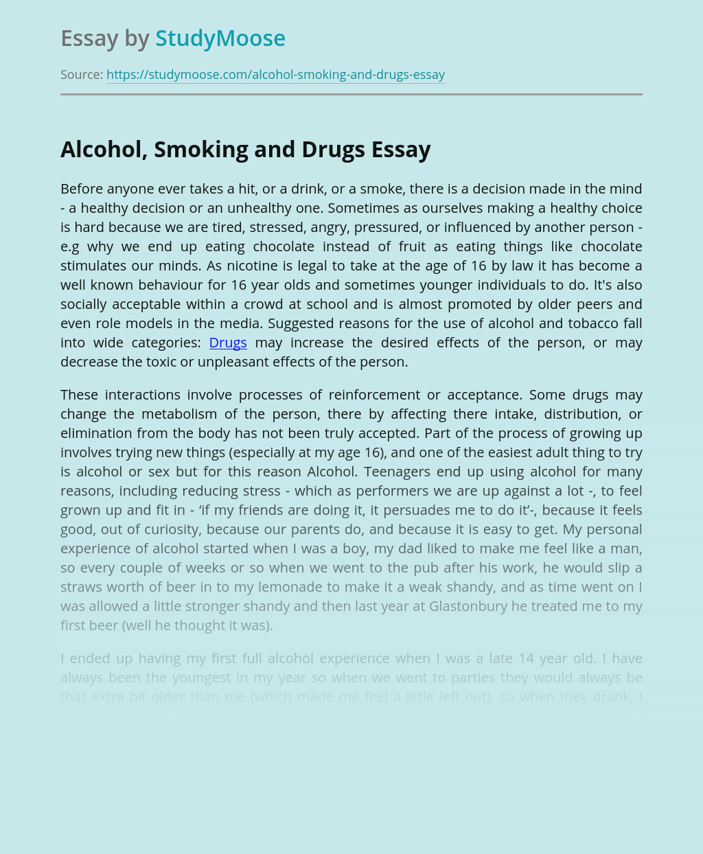 Drugs and alcohol essays