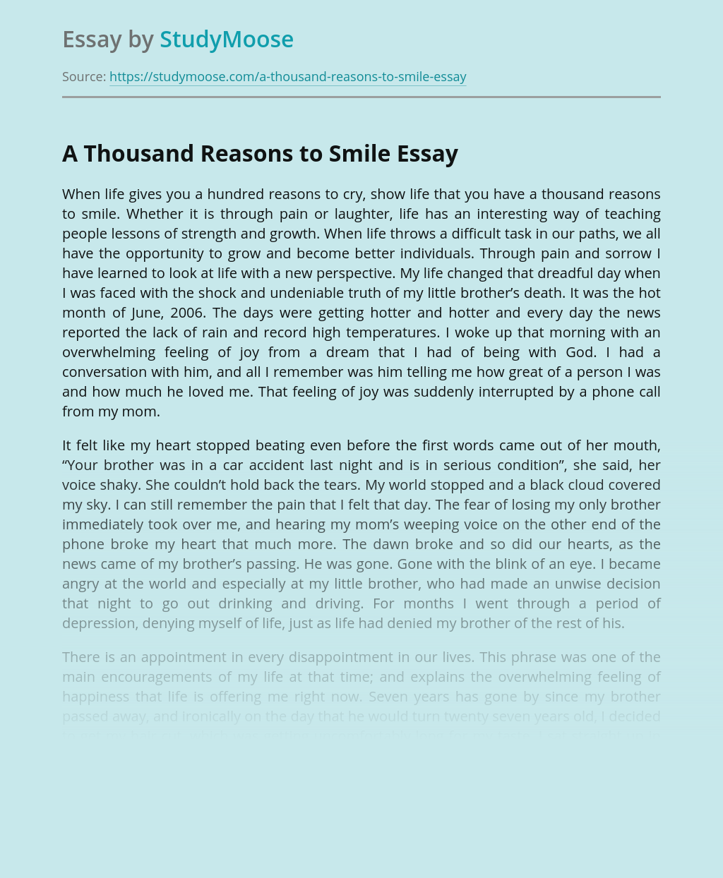 A Thousand Reasons to Smile