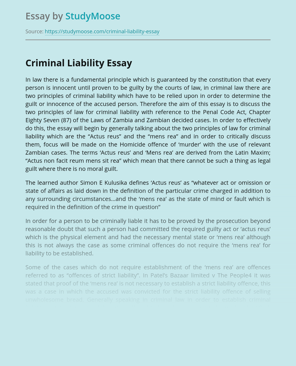 Criminal Liability Due to Law in Zambia