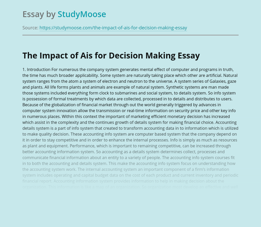 The Impact of Ais for Decision Making