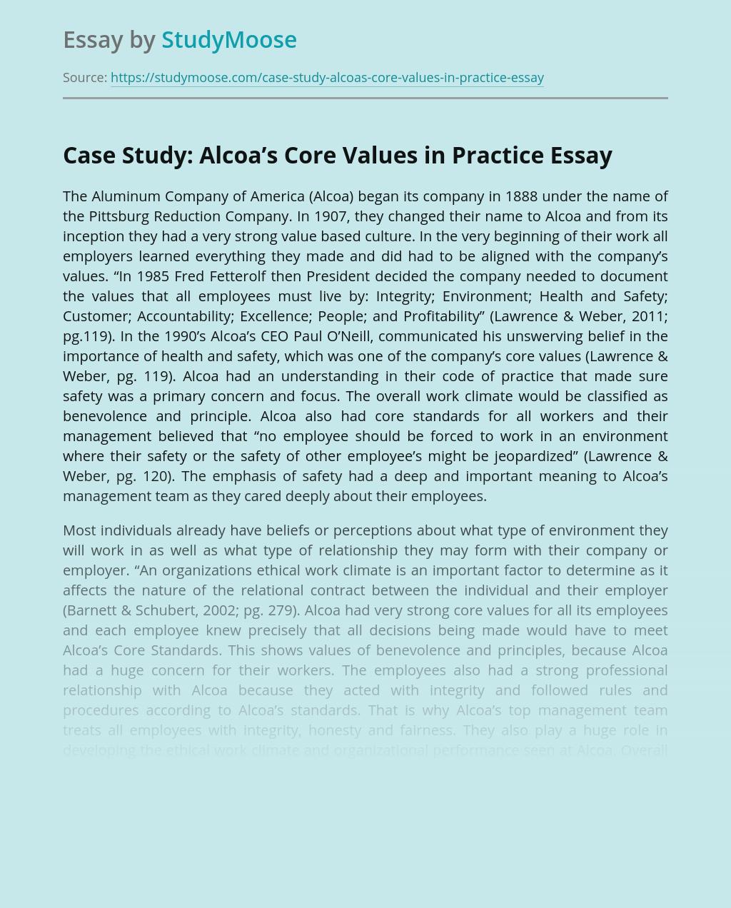 Case Study: Alcoa's Core Values in Practice