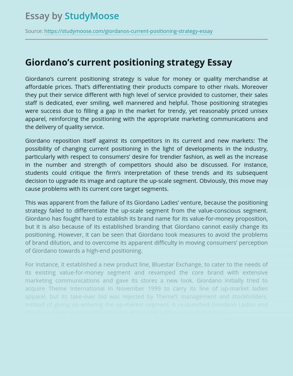 Positioning Strategy of Giordano's Current Marketing