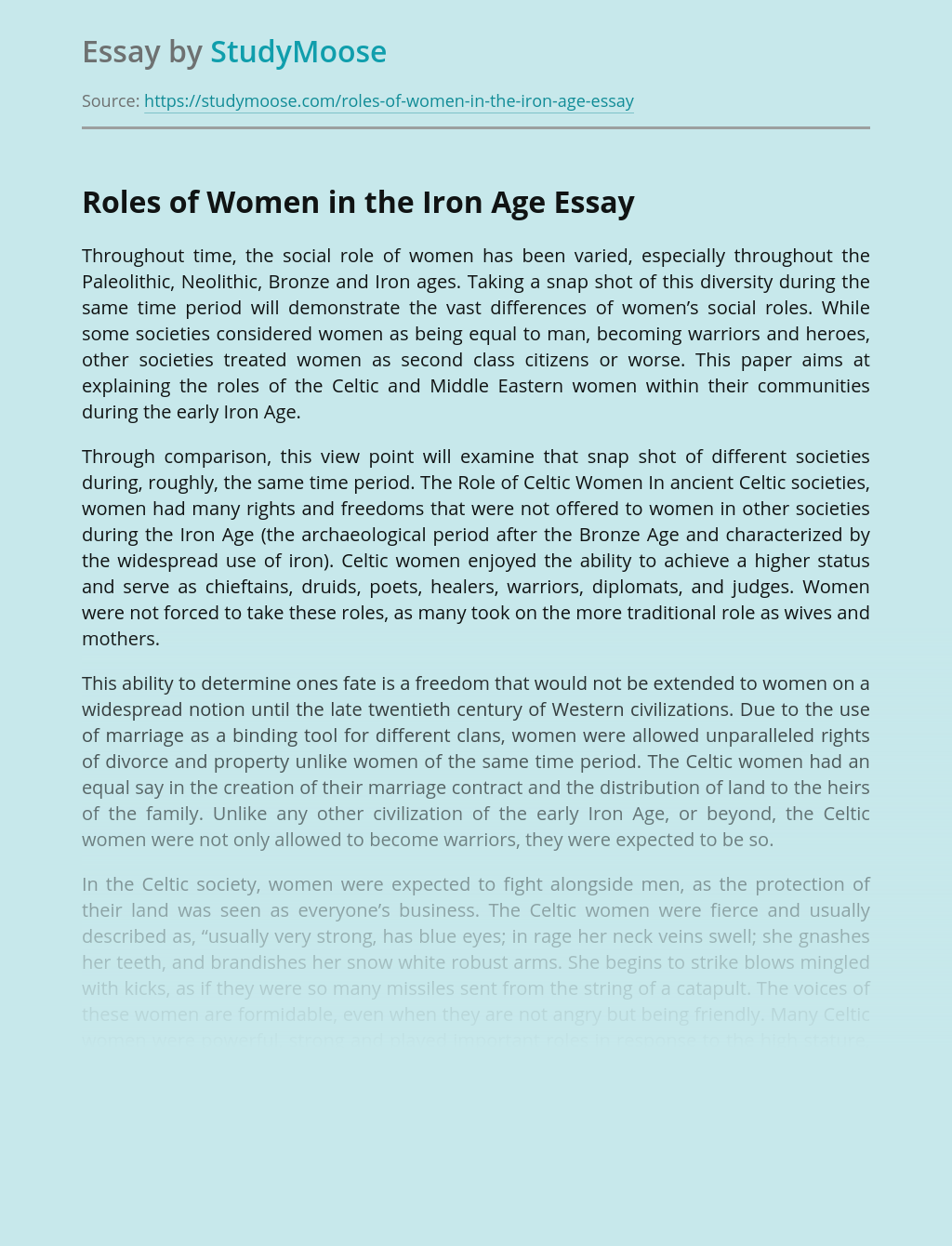Roles of Women in the Iron Age