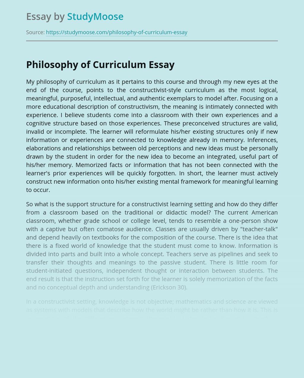 Philosophy of Curriculum