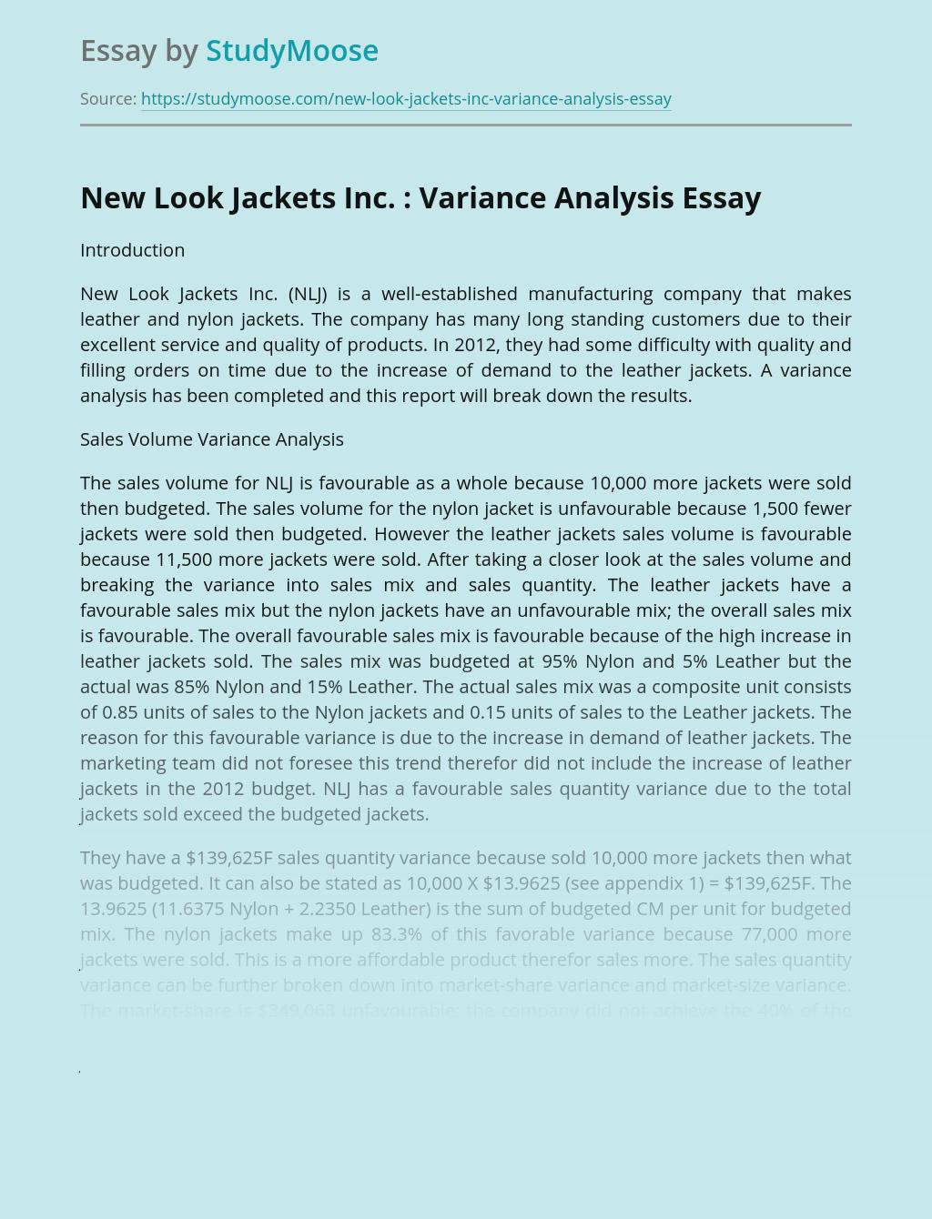 New Look Jackets Inc. : Variance Analysis