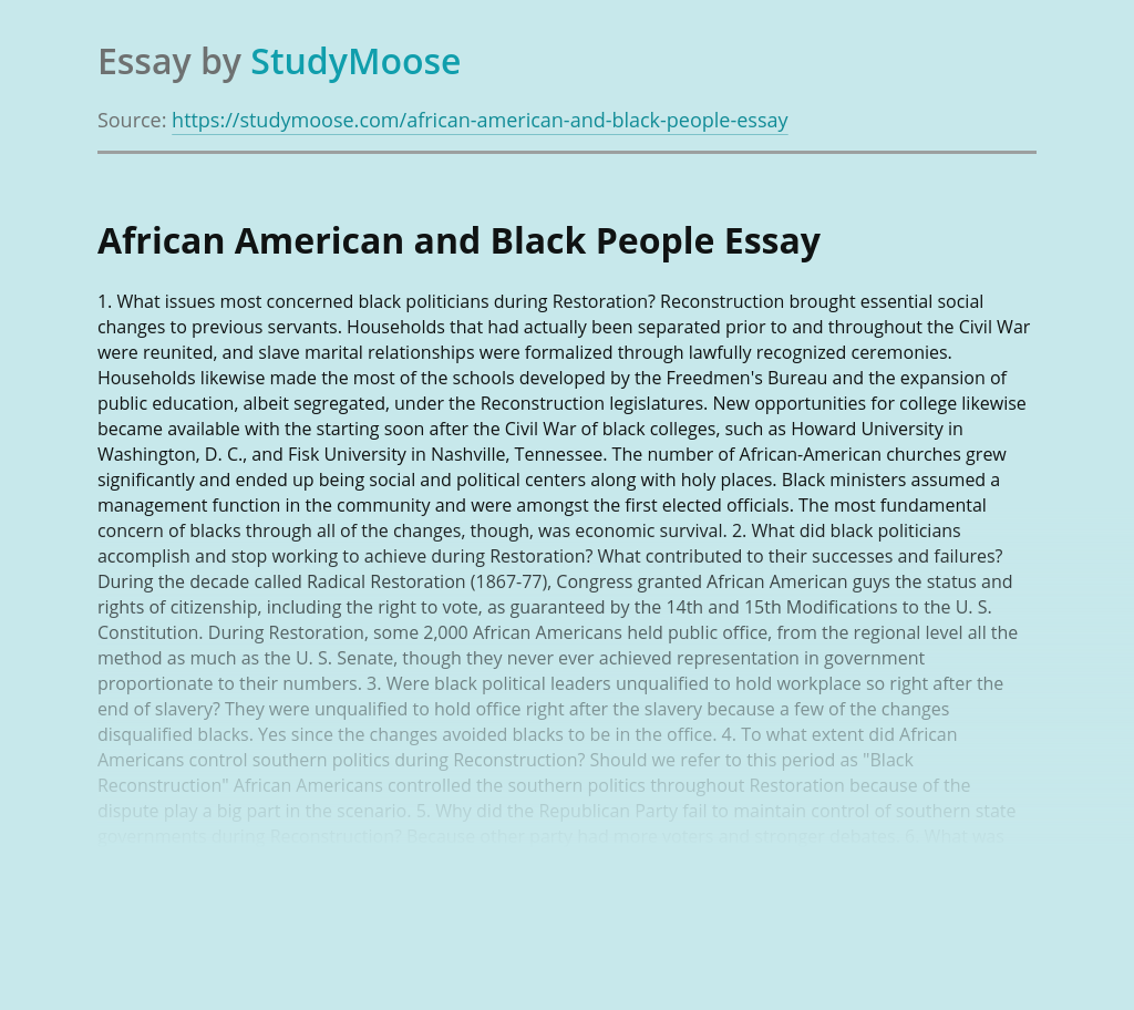 African American and Black People
