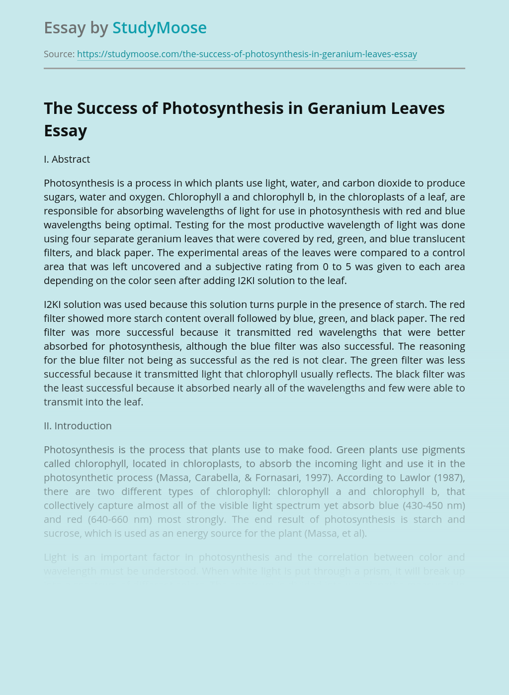 The Success of Photosynthesis in Geranium Leaves