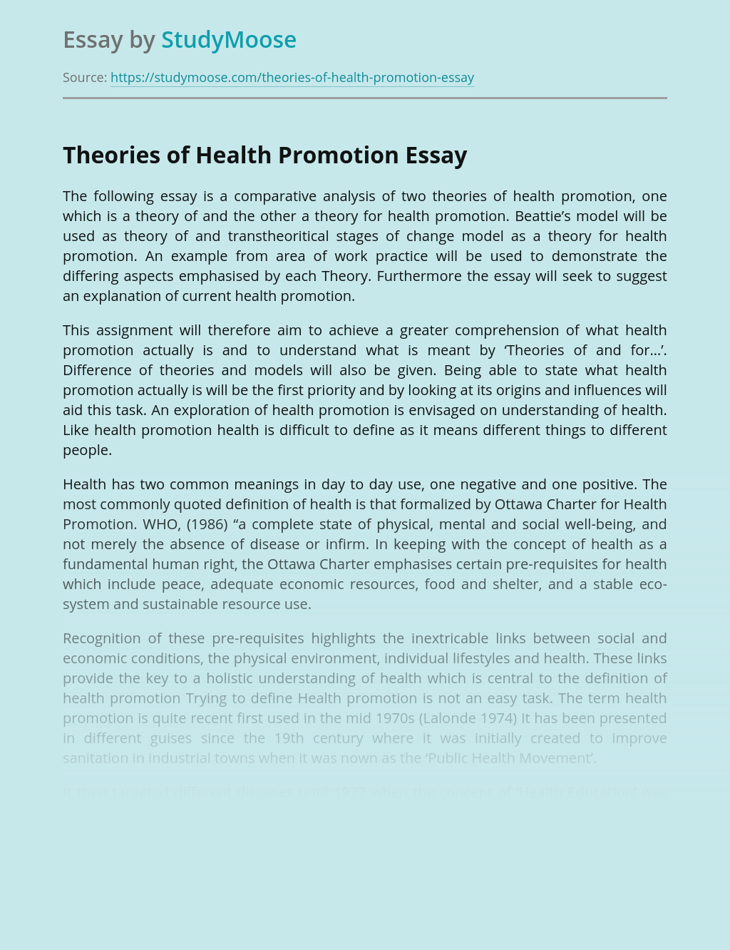 Theories of Health Promotion