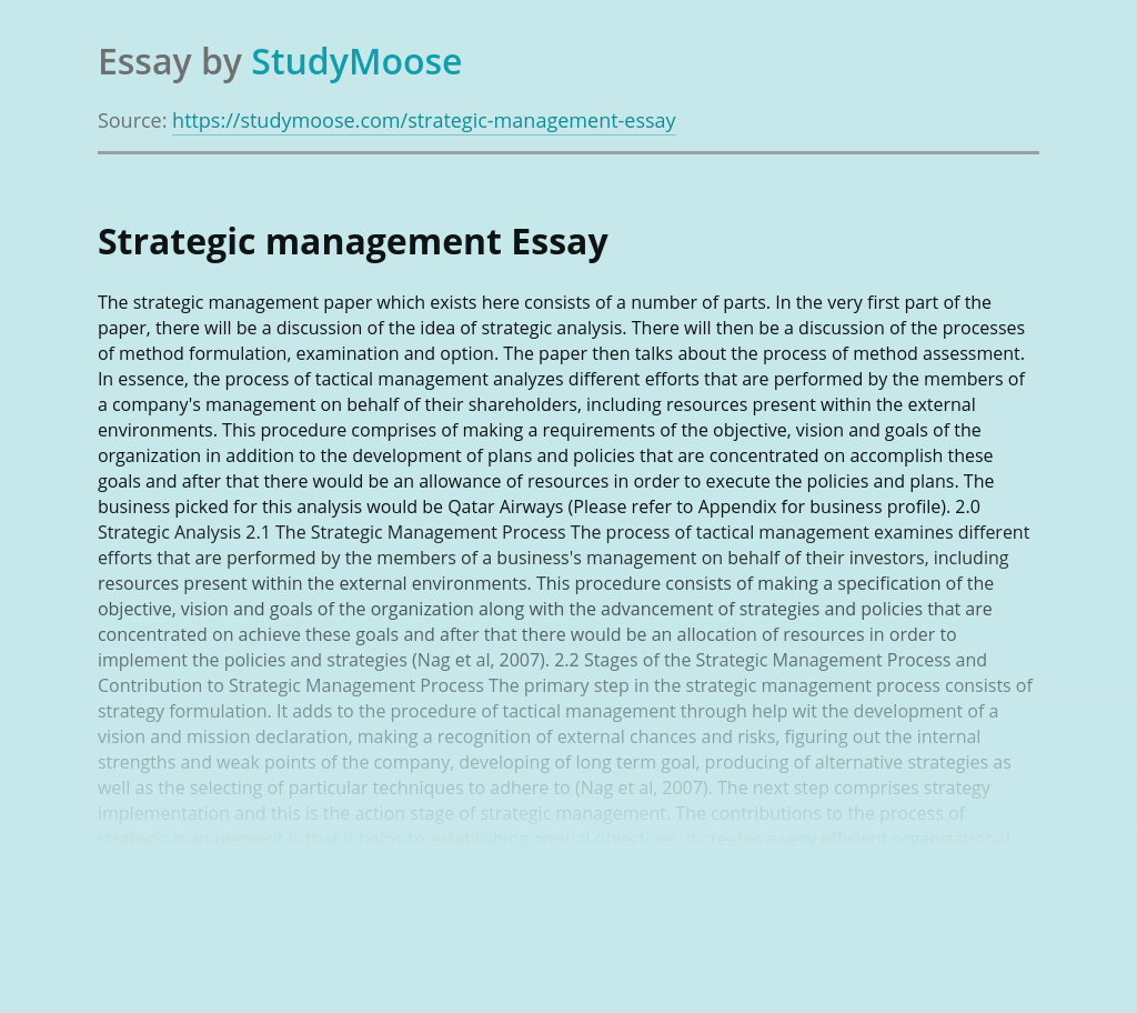 Strategic management parts and components