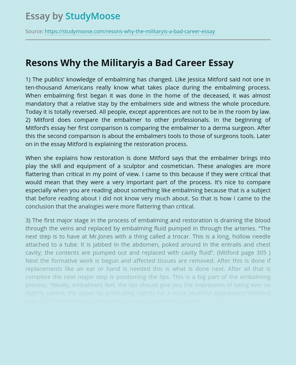 Resons Why the Militaryis a Bad Career