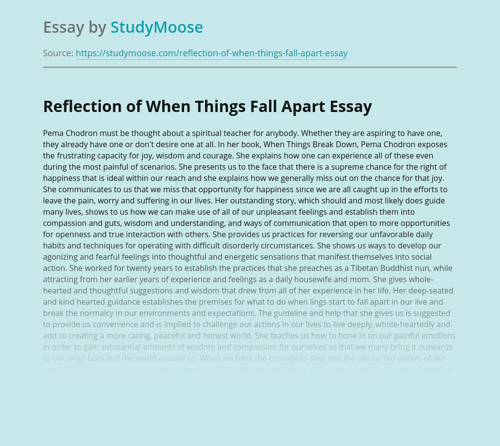 Reflection of When Things Fall Apart