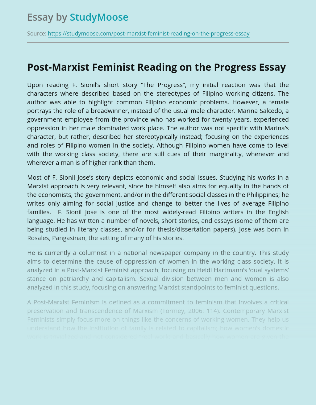 Post-Marxist Feminist Reading on the Progress