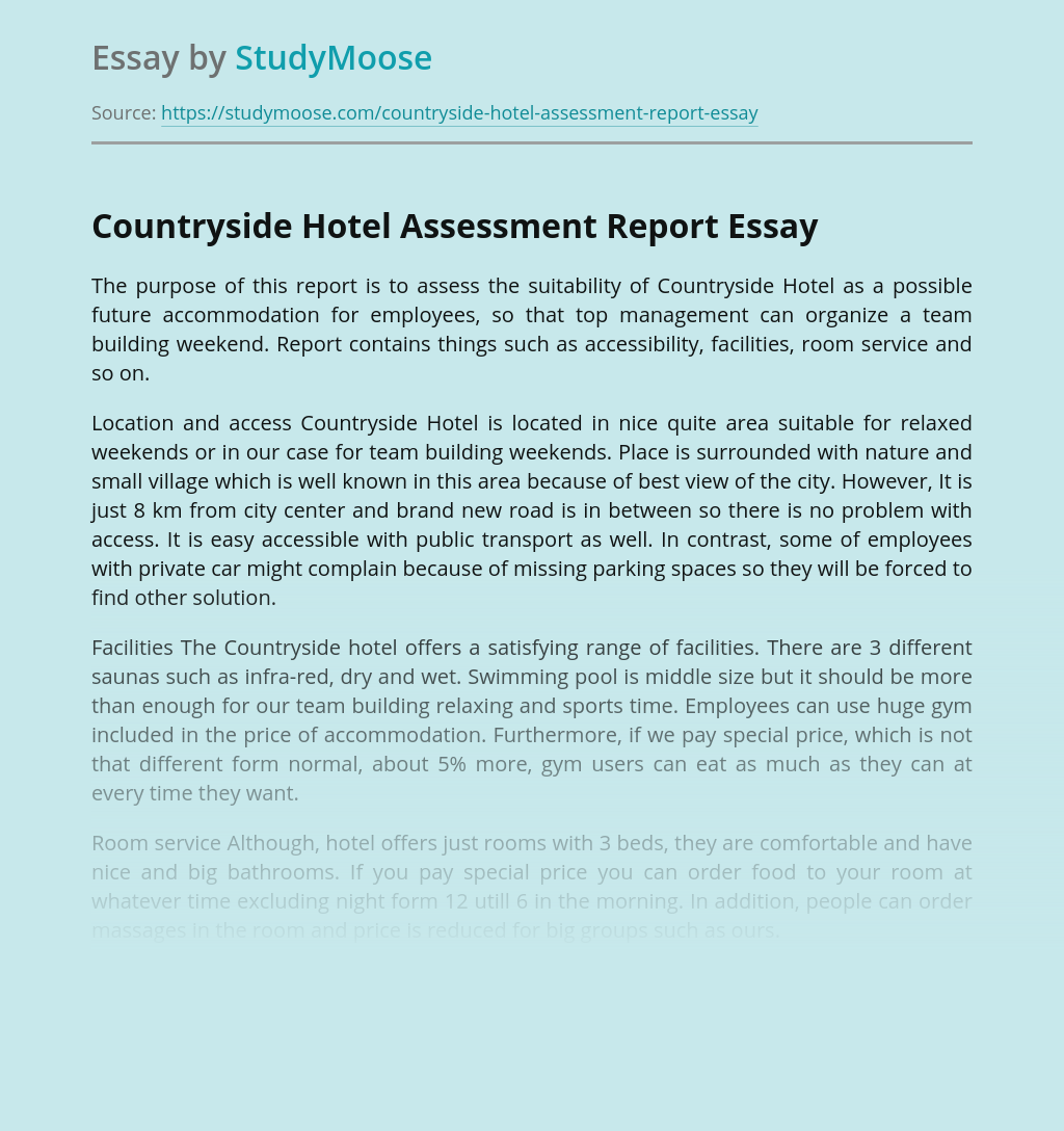 Countryside Hotel Assessment Report Free Essay Example