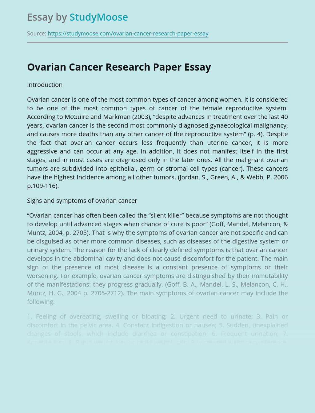 Ovarian Cancer Research Paper Free Essay Example