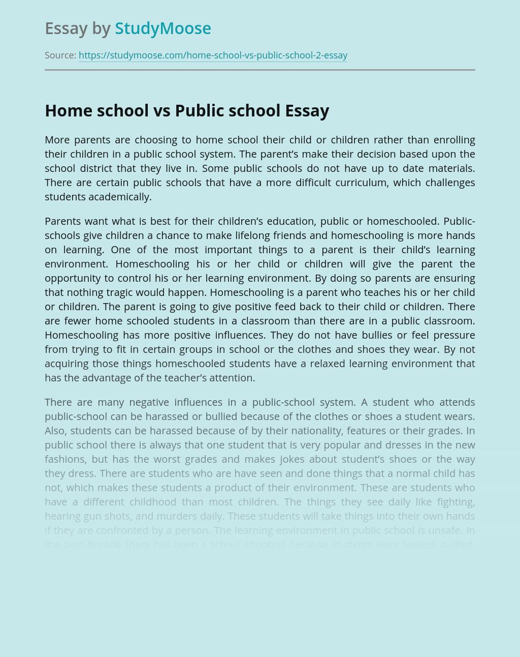 Home and Public School Comparison