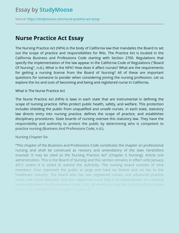 Nursing Practice According to NPA