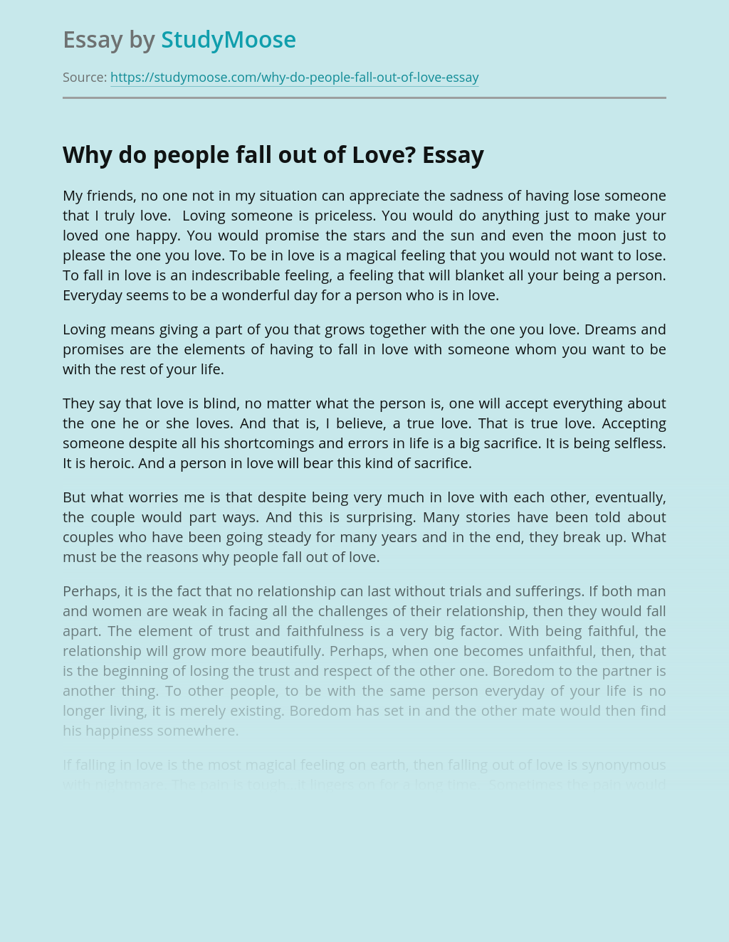 Why do people fall out of Love?