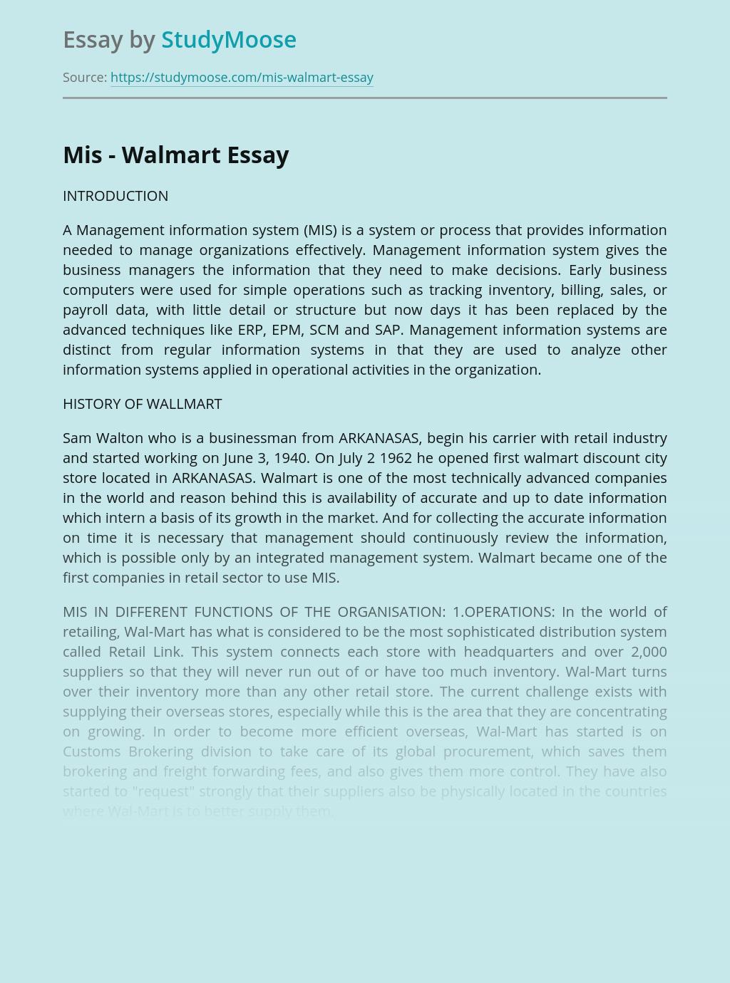 A Management information system - MIS - Walmart