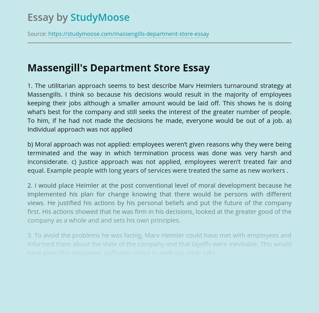 Overview of Employment at Massengill's Department Store