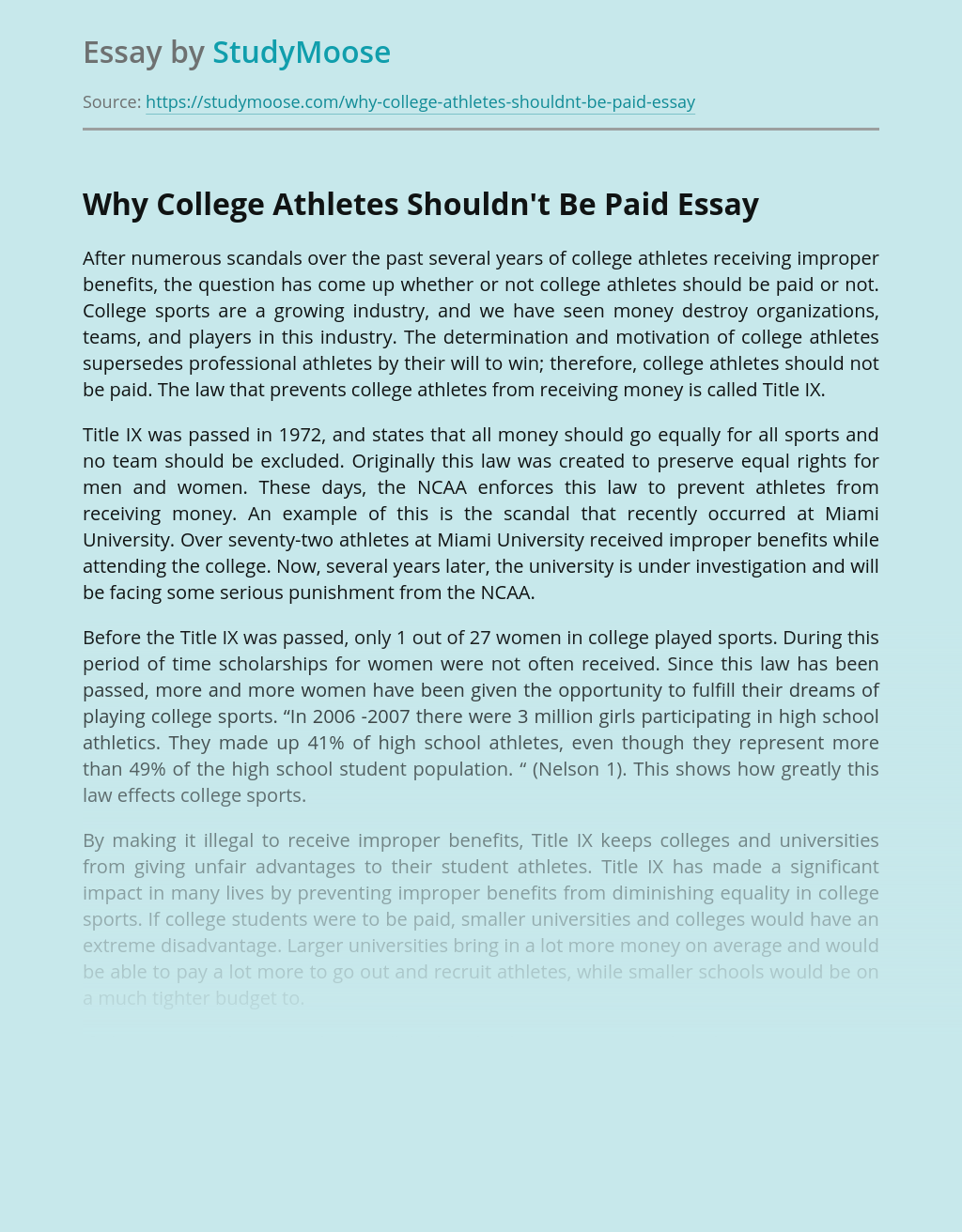 Why College Athletes Shouldn't Be Paid
