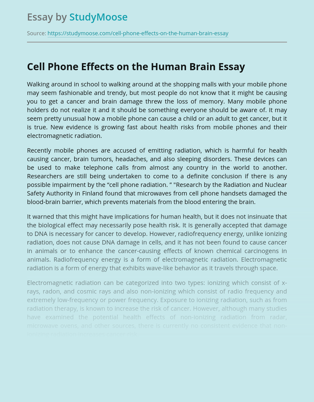 Cell Phone Effects on the Human Brain